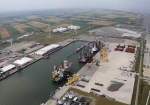 Eemshaven base port for turbine installation Hollandse Kust Noord